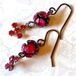Vintage Fuchsia Pink Crystal Ball Cross Earrings